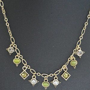 Lia Sophia Necklace Green Stones Gold Tone Chain